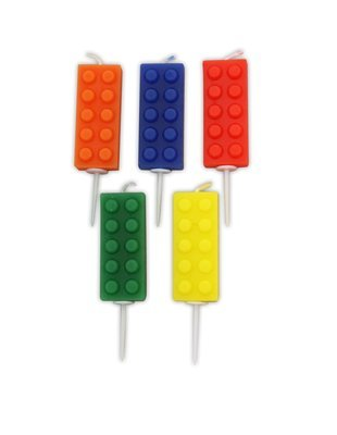 By AH -Candles -Set of 5 BRICKS -Κεράκια Lego Τουβλάκια 5 τεμ