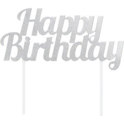 By AH -Cake Topper 'Happy Birthday' -SILVER GLITTER -Τόπερ Τούρτας Ασημένιο Γκλίτερ