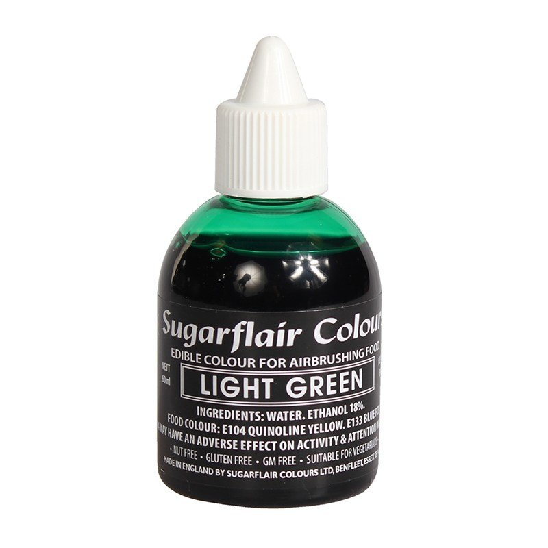 Sugarflair Airbrush Colour -MATT LIGHT GREEN -Χρώμα Αερογράφου Ματ Ανοιχτό Πράσινο 60ml