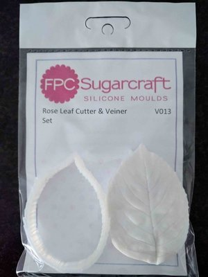 FPC Cutter & Veiner Set -ROSE LEAF -Κουπ πατ και πατάκι  με Ραβδώσεις Φύλλο Τριαντάφυλλου