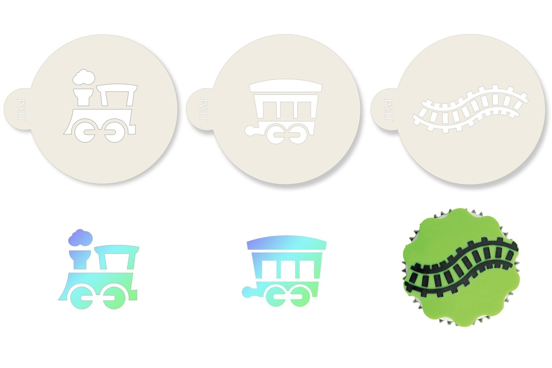 JEM Stencil -Set Of 3 TRAIN Designs -Carriage & Train Track - Σετ 3τεμ Στένσιλ -Τραίνο, Άμαξα, Γραμμές Τραίνου