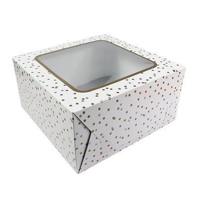 Box for Cakes 25cm METALLIC SPOT -Τετράγωνο Κουτί για Γλυκά με χρυσό και ασημί Πουά 25εκ
