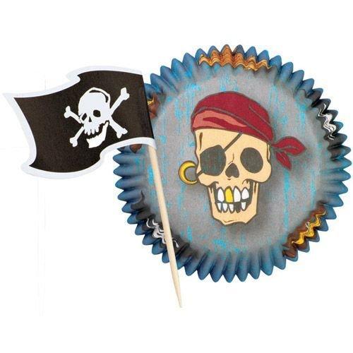 SALE!!! Wilton Themed Combo Pack -Pirate Pack 24 τεμ -   Θήκες ψησίματος Πειρατικές με τόπερ σημαίες