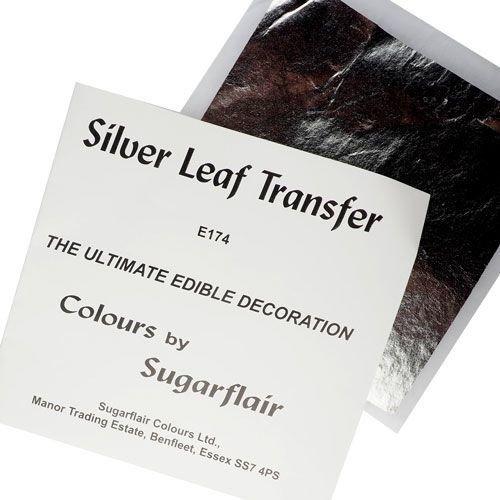 Sugarflair Transfer Leaf -SILVER x1 - Βρώσιμο Ασημένιο φύλλο 8x8εκ