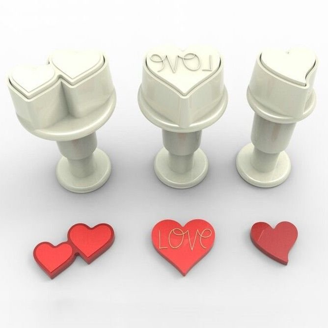 Dekofee Plunger Cutter -MINI HEARTS - Σετ 3τεμ κουπ πατ με Εκβολέα Μίνι Διάφορες Καρδιές