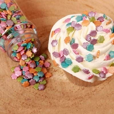 FunCakes Sprinkles -METALLIC FLOWER MIX -Μείγμα Ζαχαρωτών Λουλούδια Μεταλιζέ 70γρ