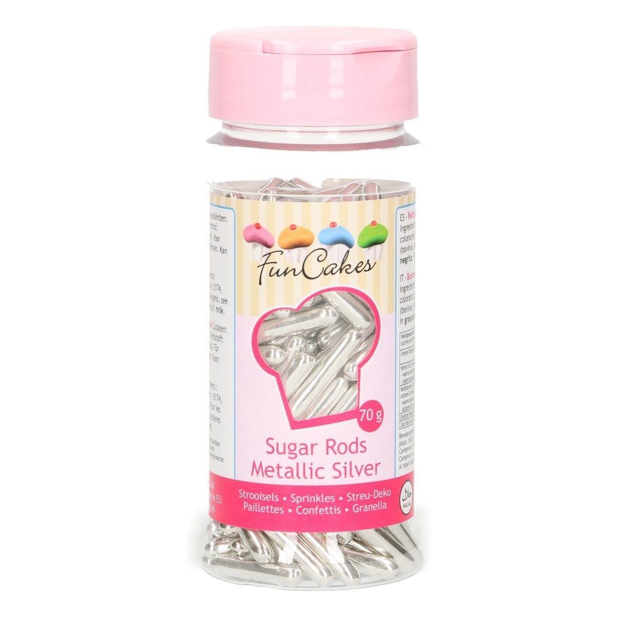 FunCakes Sprinkles -Metallic Sugar Rods XL SILVER -Μείγμα Ζαχαρωτών Ράβδοι -Ασημί 70γρ