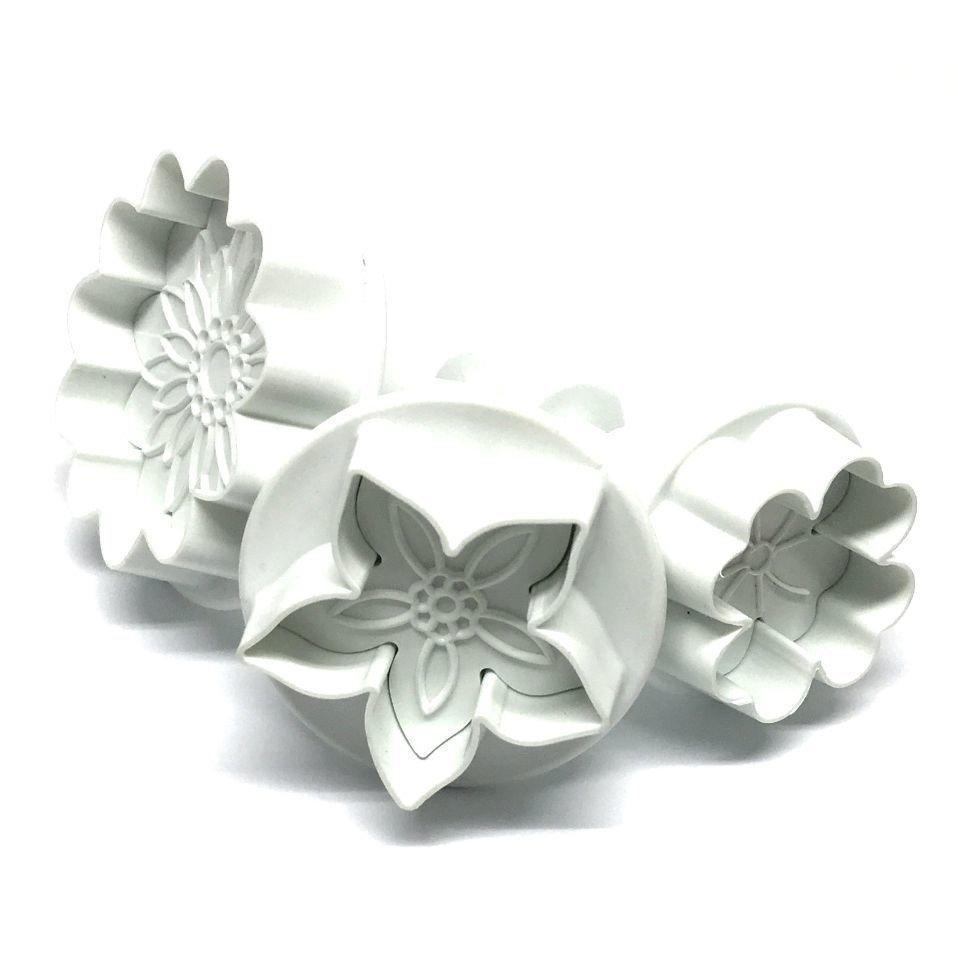 Dekofee Plunger Cutters -FLOWER MIX - Σετ 3τεμ κουπ πατ με Εκβολέα Διάφορα Λουλούδια