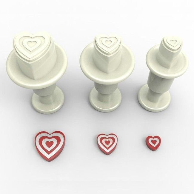 SALE!!! Dekofee Plunger Cutter -MINI STRIPED HEARTS - Σετ 3τεμ κουπ πατ με Εκβολέα Μίνι Ανάγλυφες Καρδούλες