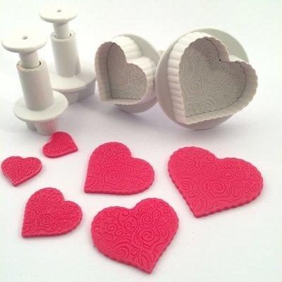 Dekofee Plunger Cutters -PATTERNED HEARTS - Σετ 4τεμ κουπ πατ με Εκβολέα Καρδιές με Σχέδια
