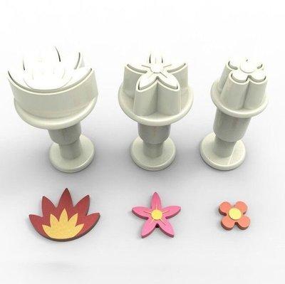 Dekofee Plunger Cutter -MINI FLOWER MIX - Σετ 3τεμ κουπ πατ με Εκβολέα Μίνι Διάφορα Λουλουδάκια