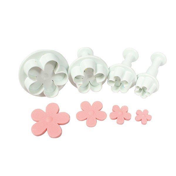 Cake Star Plunger Cutters -FIVE PETAL FLOWER -Σετ 4τεμ κουπ πατ Λουλούδι με 5 Πέταλα