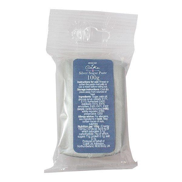 House of Cake Sugarpaste -METALLIC SILVER 100γρ -Ζαχαρόπαστα Ασημί Μεταλιζέ