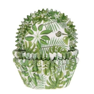By House of Marie Cupcake Cases -GREEN LEAVES -Θήκες Ψησίματος Πράσινα Φύλλα 50 τεμ ∞