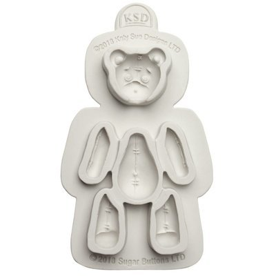 Katy Sue Silicone Mould -Sugar Buttons -STITCHED TEDDY BEAR -Καλούπι Σιλικόνης Αρκουδάκι Ραμμένο