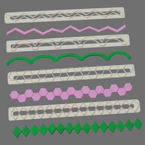 FMM Frill Cutters Set No.17-20 -GEOMETRIC EDGING - Σετ 4τεμ  κουπ πατ με Γεωμετρικό Τελείωμα Νο 17-20