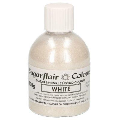 Sugarflair -Sparkling Sugar Sprinkles -WHITE 100g - Χρωματιστή Ζάχαρη - Λευκή