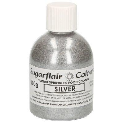 Sugarflair -Sparkling Sugar Sprinkles -SILVER 100g - Χρωματιστή Ζάχαρη - Ασημί