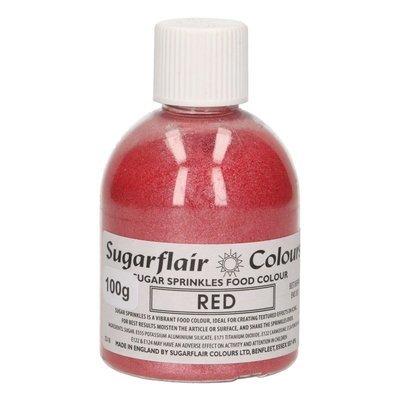 Sugarflair -Sparkling Sugar Sprinkles -RED 100g - Χρωματιστή Ζάχαρη - Κόκκινη