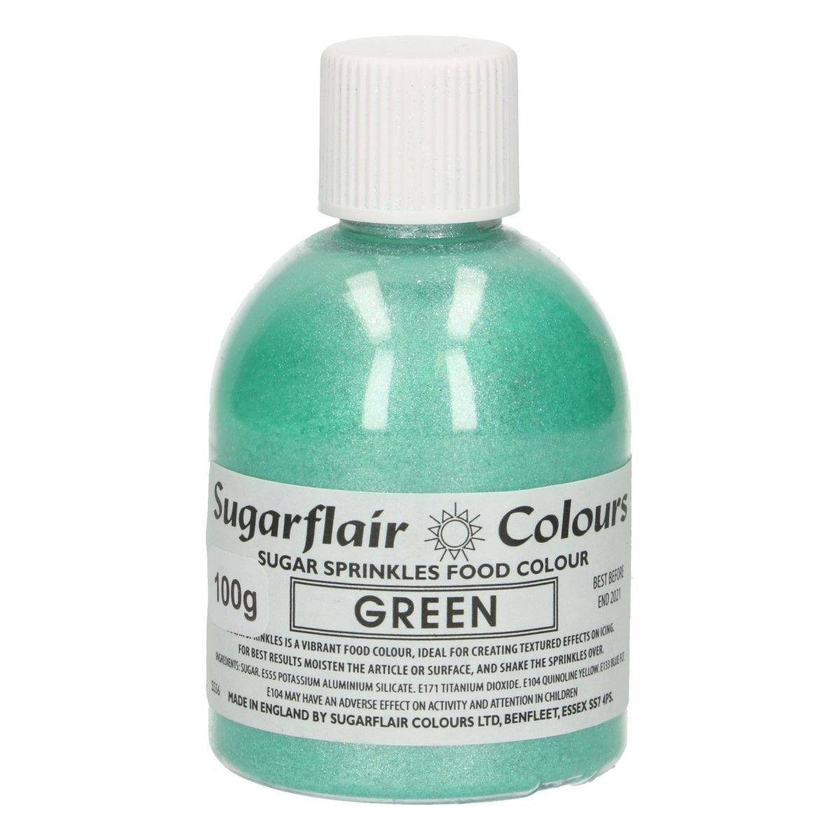 Sugarflair -Sparkling Sugar Sprinkles -GREEN 100g - Χρωματιστή Ζάχαρη - Πράσινη