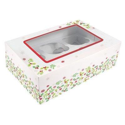 Box for 6 CUPCAKES or 12 MINI CUPCAKES Christmas HOLLY -Κουτί Χριστουγεννιάτικος Πρίνος για 6 Καπκέϊκς ή 12 Mini Καπκέϊκς
