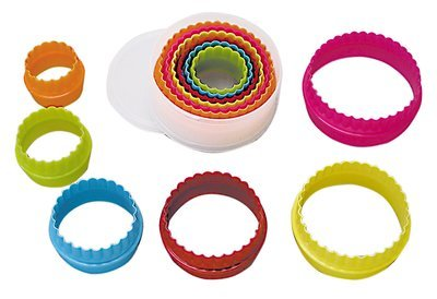 By AH -Set of Plastic Cookie Cutters -ROUND/CIRCLES -Plain & Fluted - Σετ 6 τεμ  πλαστικά στρογγυλά κουπ πατ - Ίσια και Κυματοειδή