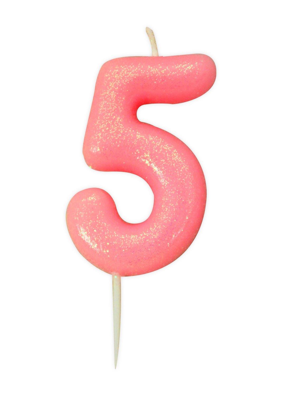 By AH -Candles -GLITTER PINK '5' -Κεράκι Ροζ Γκλίτερ αριθμός '5'