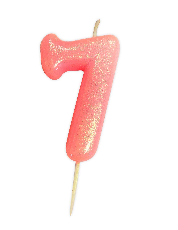 By AH -Candles -GLITTER PINK '7' -Κεράκι Ροζ Γκλίτερ αριθμός '7'