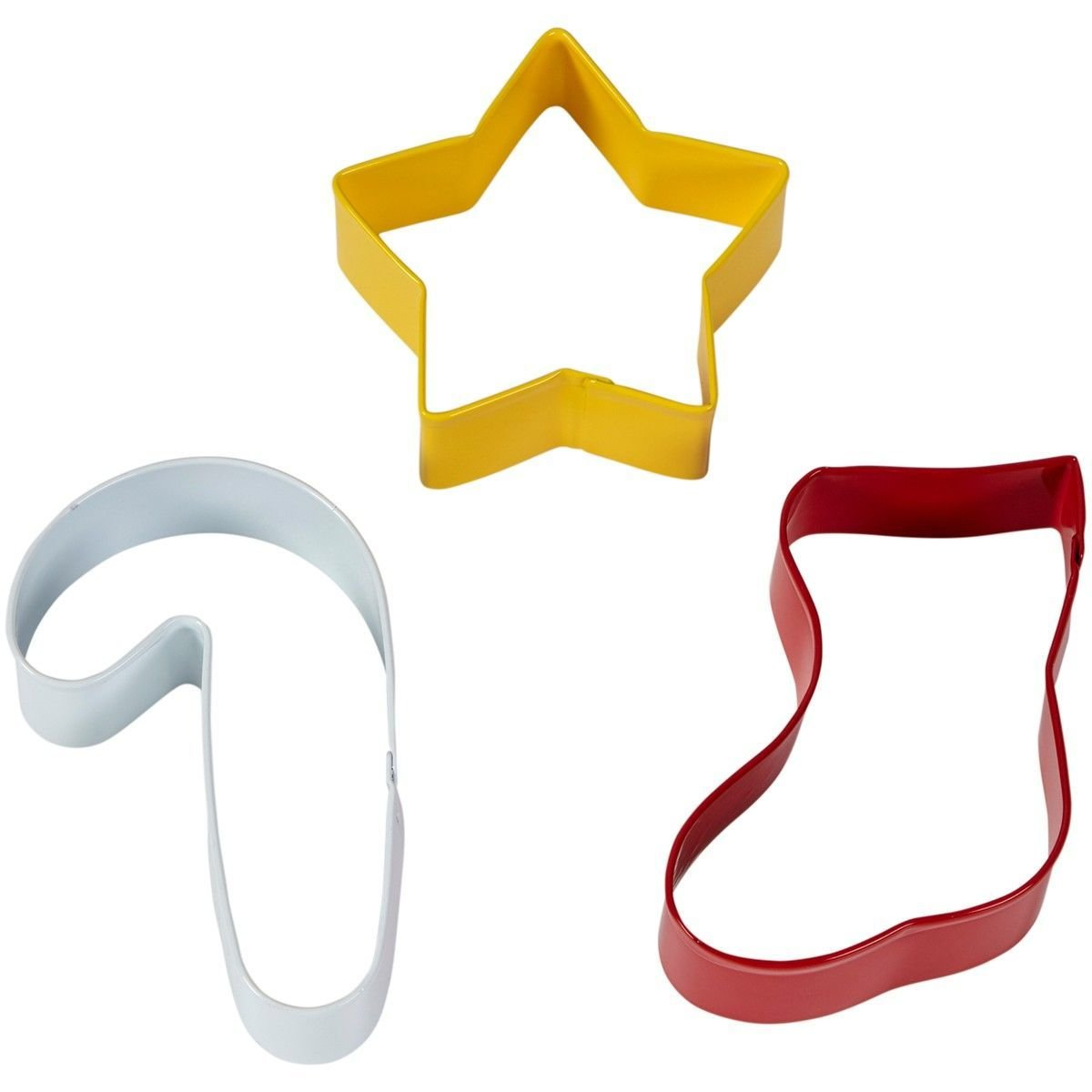 Wilton Christmas Cookie Cutter Set of 3 -STAR, STOCKING, CANDY CANE - Σετ 3τεμ Κουπ πατ Αστέρι, Κάλτσα, Γλειφιτζούρι