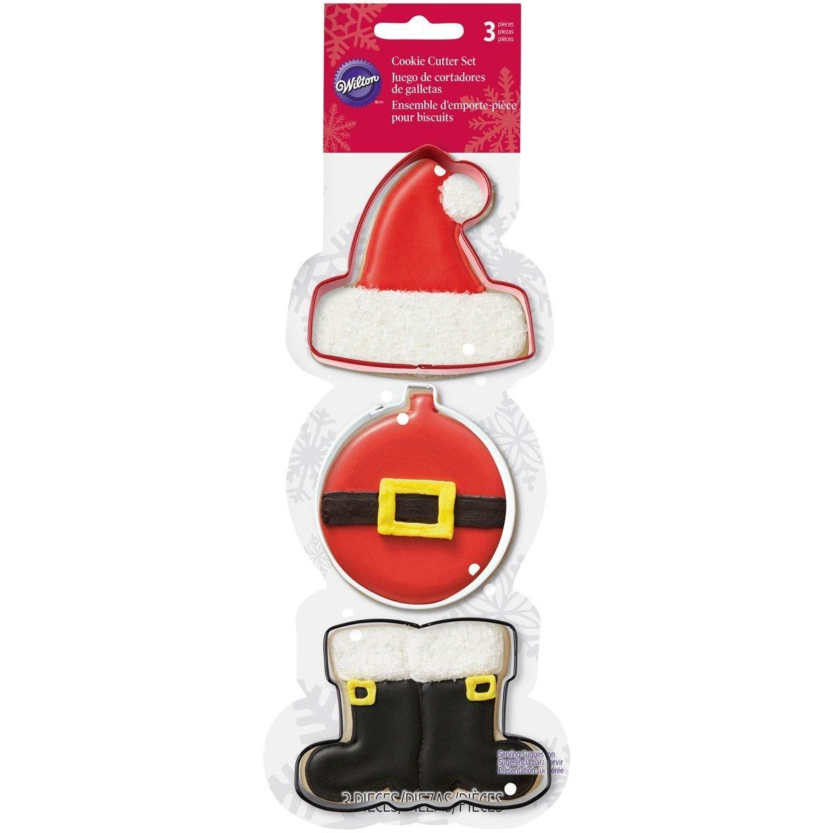 Wilton Christmas Cookie Cutter Set of 3 -SANTA HAT, BOOTS & BAUBLE -Σετ 3τεμ Κουπ πατ Σκούφος Αγ.Βασίλη, Μπότες και Στολίδι