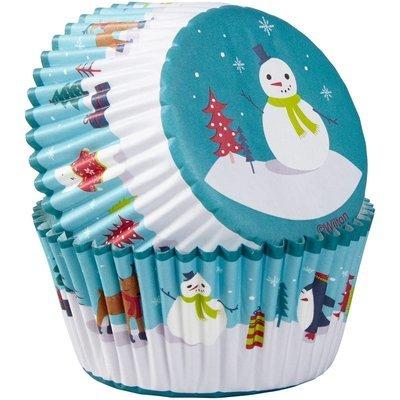 Wilton Christmas Cupcake Cases -SNOWMAN with CHARACTERS - Θήκες Ψησίματος Καπκέικ/Μάφιν Χιονάνθρωπος με χαρακτήρες 75 τεμ