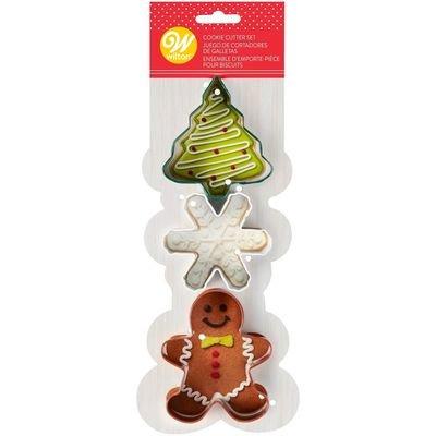 Wilton Christmas Cookie Cutter Set of 3 -TREE, SNOWFLAKE, GINGERBREAD MAN -Σετ 3τεμ Κουπ πατ Χριστουγεννιάτικο δέντρο, Χιονονιφάδα, Μπισκοτένιο ανθρωπάκι