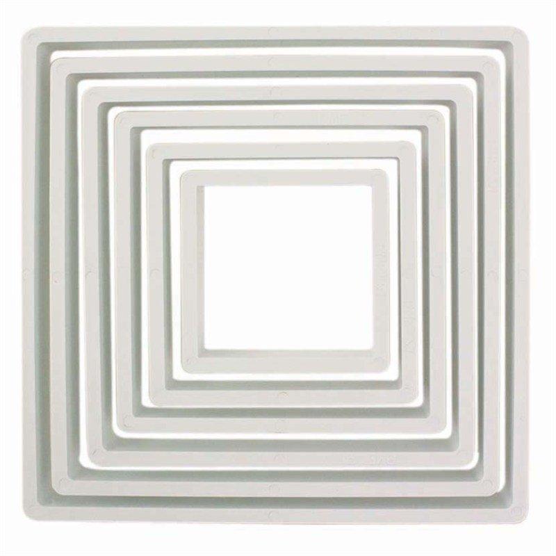 PME Geometric Basics -Set of 6 -SQUARE Cutters 6pcs -Σετ 6τεμ κουπ πατ Πλαστικά Βασική Σειρά Τετράγωνα