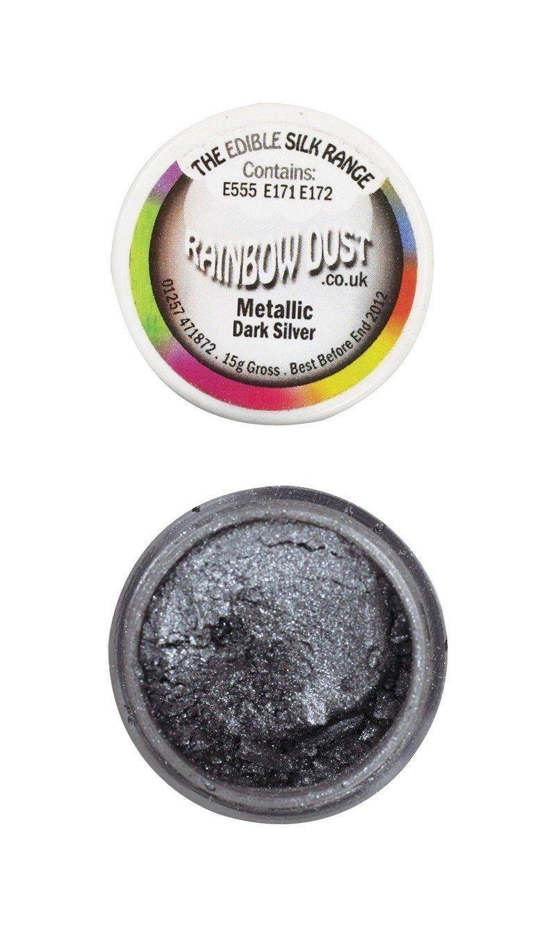 By Rainbow Dust Edible Dust -Metallic DARK SILVER -Βρώσιμη Σκόνη Μεταλλική Σκούρο Ασημί ∞