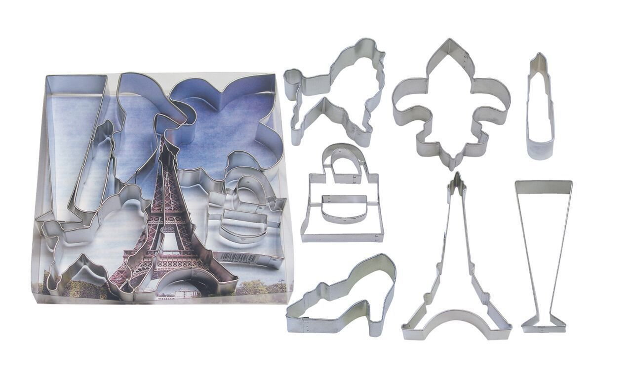 By AH -Set of 5 Cookie Cutters -PARISIENNE - Σετ 5 τεμ κουπ πατ με Θέμα Παρίσι