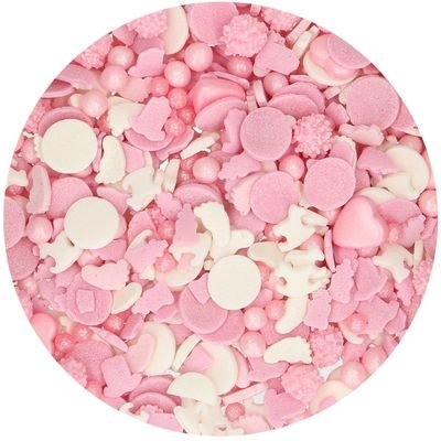 FunCakes Sprinkle Mix 180γρ -BABY GIRL MEDLEY - Μείγμα Ζαχαρωτών - Μωράκι Κορίτσι - Ροζ & Λευκό