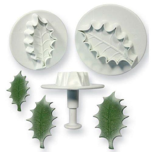 PME Plunger Cutters -Set of 3 -HOLLY LEAF -LARGE -Σετ 3τεμ κουπ πατ με Εκβολέα Μεγάλο Ανάγλυφο Φύλλο Γκι