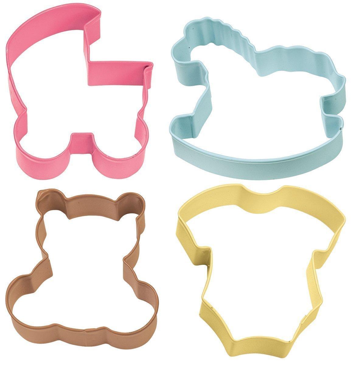 Wilton Cookie Cutter Set of 4 -BABY -PRAM, ROCKING HORSE, TEDDY, ONESIE - Σετ 4τεμ κουπ πατ Μωρό - Καρότσι, φορμάκι, κουνιστό αλογάκι, αρκουδάκι 7.6εκ