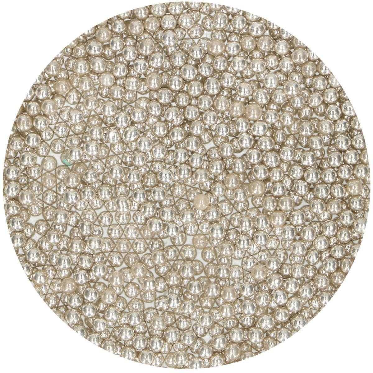 FunCakes Sugarballs -4mm METALLIC SILVER 80g -Ζαχαρωτά Μπιλίτσες/Πέρλες Μεταλλικό Ασημί