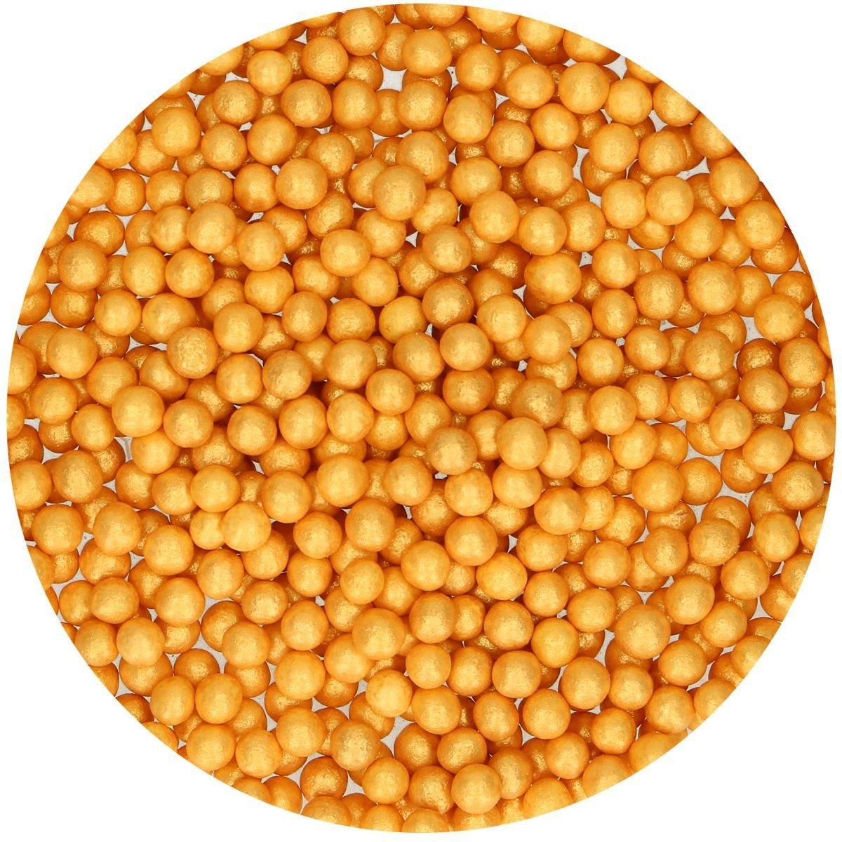 FunCakes Soft Sugarballs 4mm -GOLD 60g - Μαλακές Πέρλες Ζάχαρης - Χρυσό 60γρ