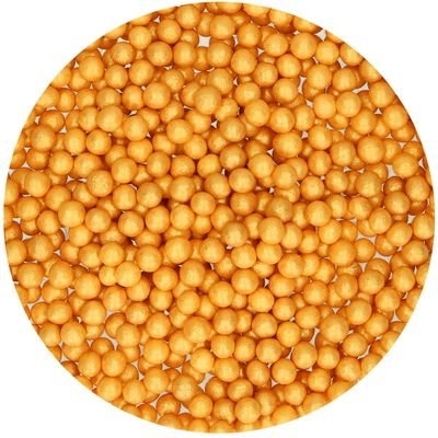 FunCakes Soft Sugarballs 4mm -GOLD 60g - Μαλακές Μπίλιες Ζάχαρης - Χρυσό 60γρ