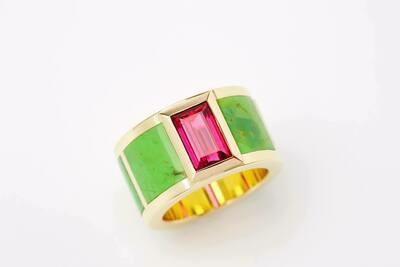 Ring pink Turmalin und Jade