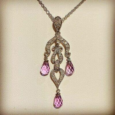 Estate 14K White Gold Amethyst and Diamond Drop Necklace