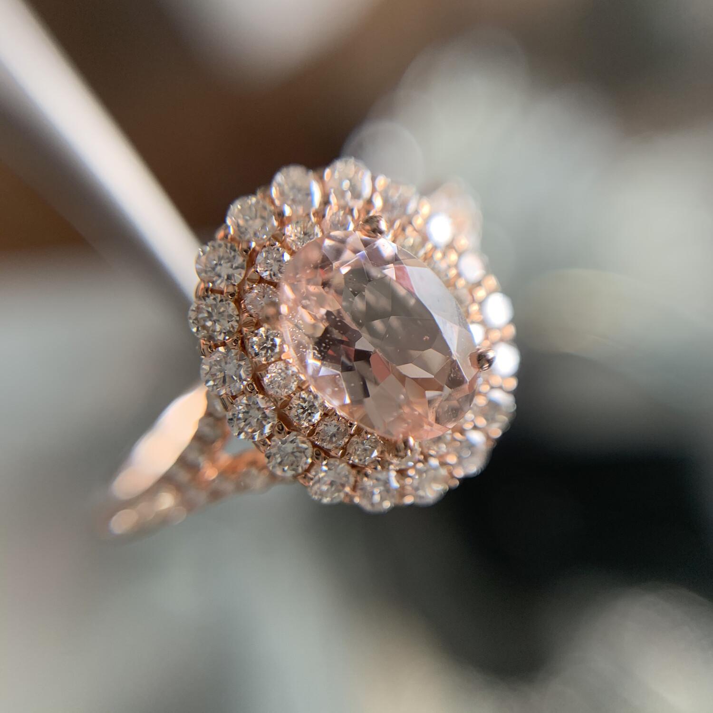 Oval Morganite Double Diamond Halo Ring