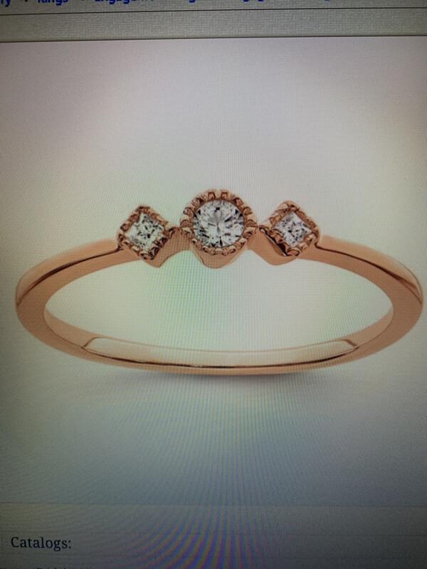 Petite Beaded Edge Diamond Ring