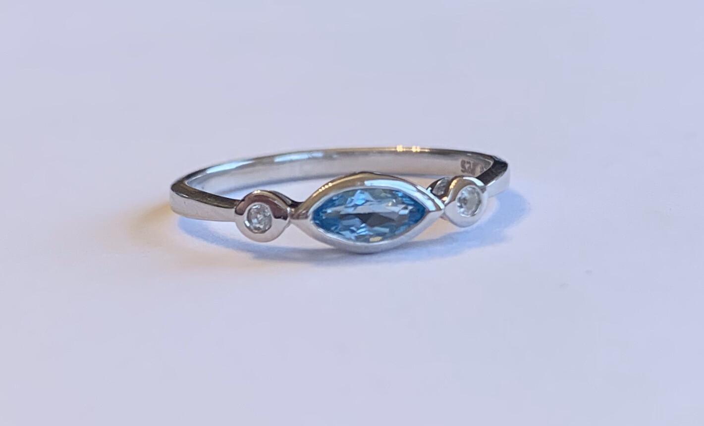 Evil Eye Swiss Blue Stackable Ring
