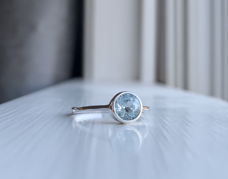 Sky Blue Topaz Bezel Ring