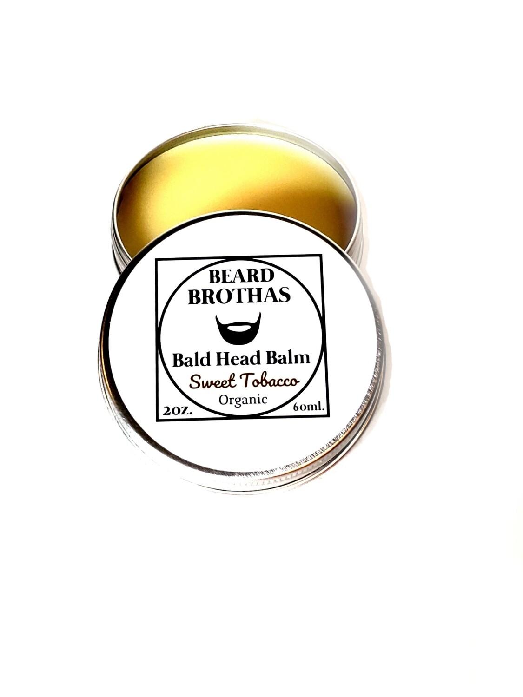 Premium Organic Bald Head Balm Moisturizer. Sweet Tobacco Scent.