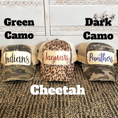 Cheetah/Camo Custom Hats