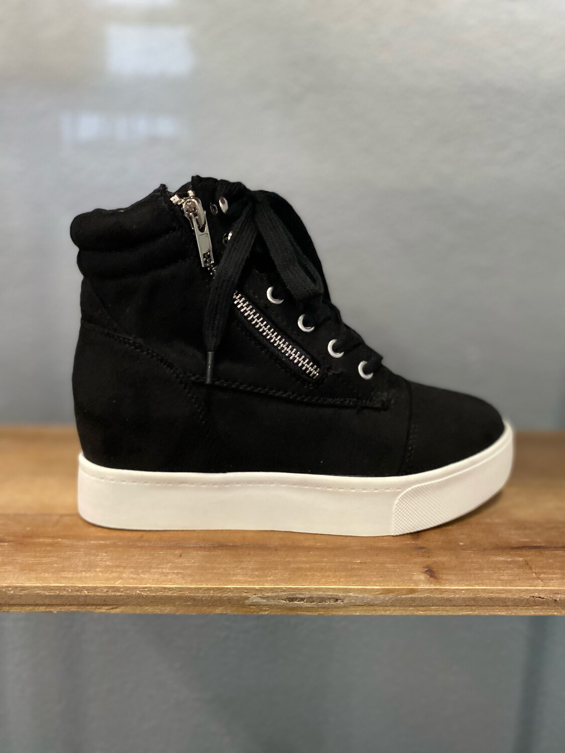 Black Wedge Lace Up